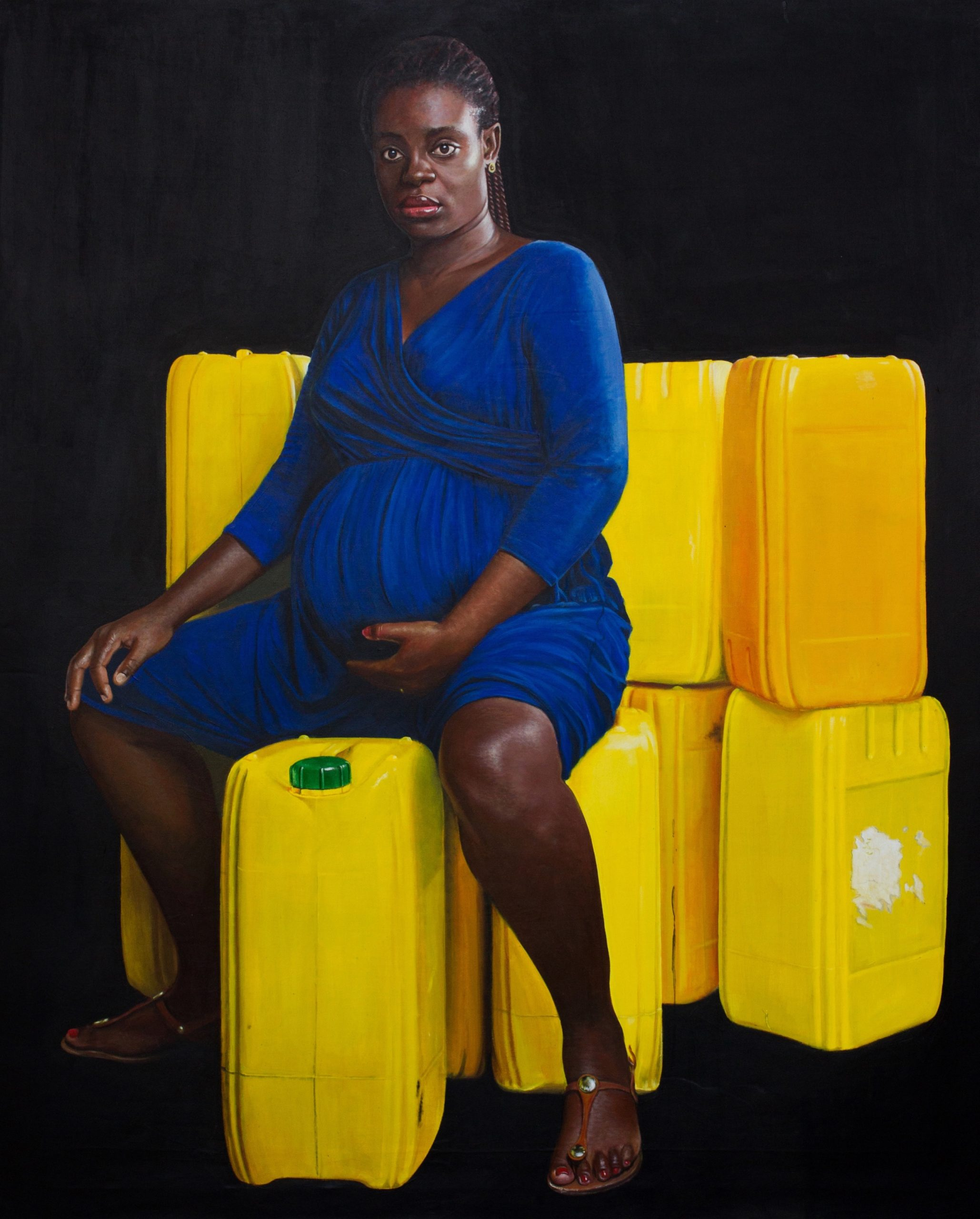 Jeremiah Quarshie, Eyram, Yellow is the Colour of Water, Oil on canvas, 2015. Courtesy MACAAL