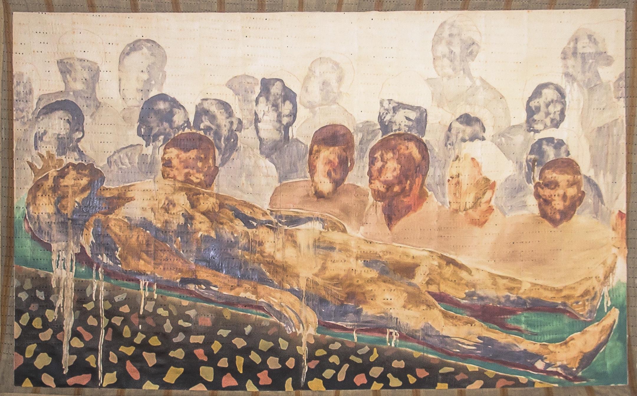 Nengi Omuku, Gathering (2020), Oil on Sanyan.