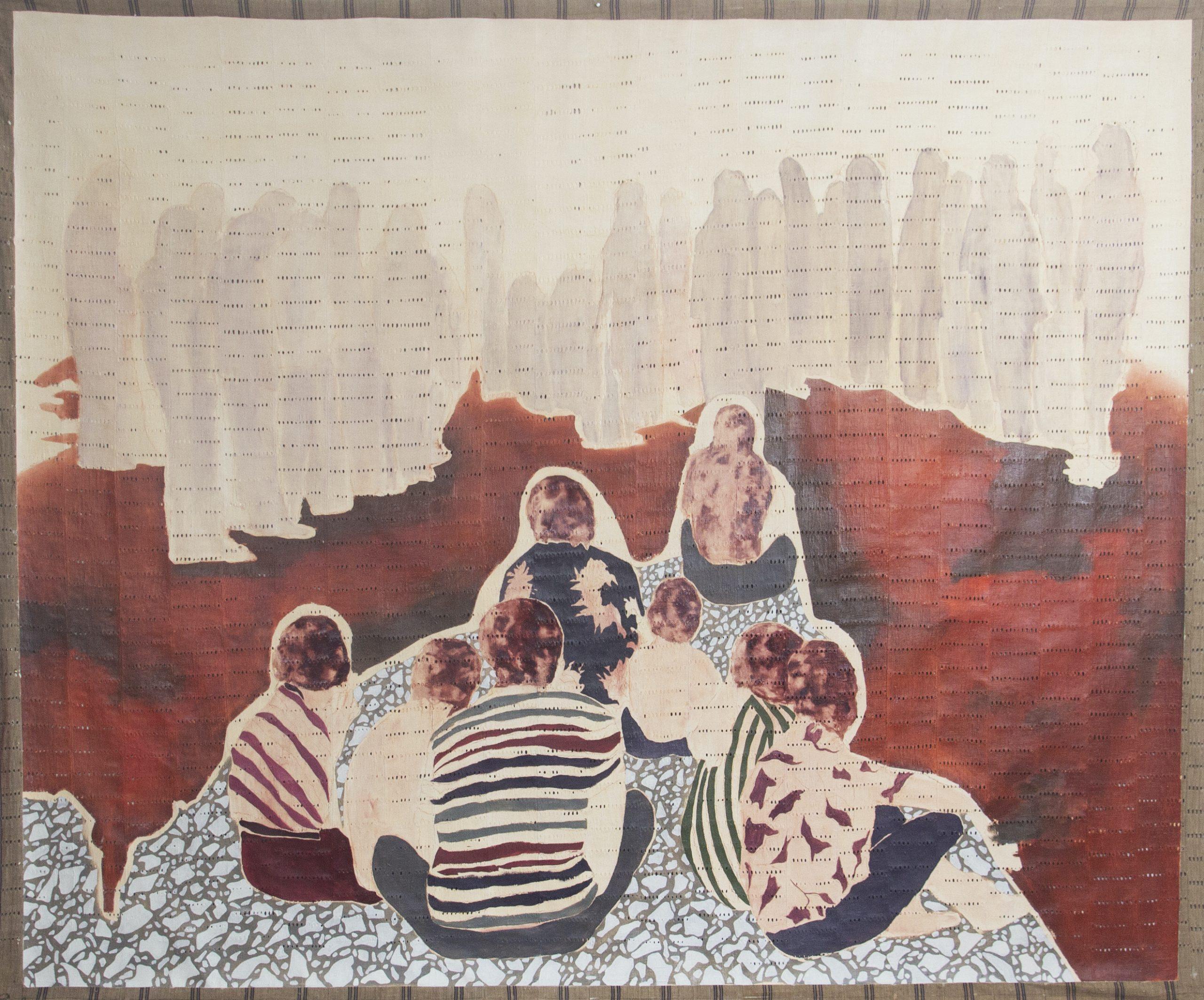 Nengi Omuku, The Sit Down (2020), Oil on Sanyan.