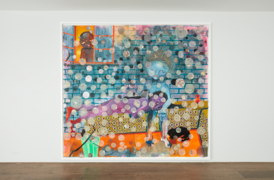 "Installation View: Ndidi Emefiele, ""It's Raining Balls, This is Bliss"", 2020. Courtesy of Gallery Rosenfeld."