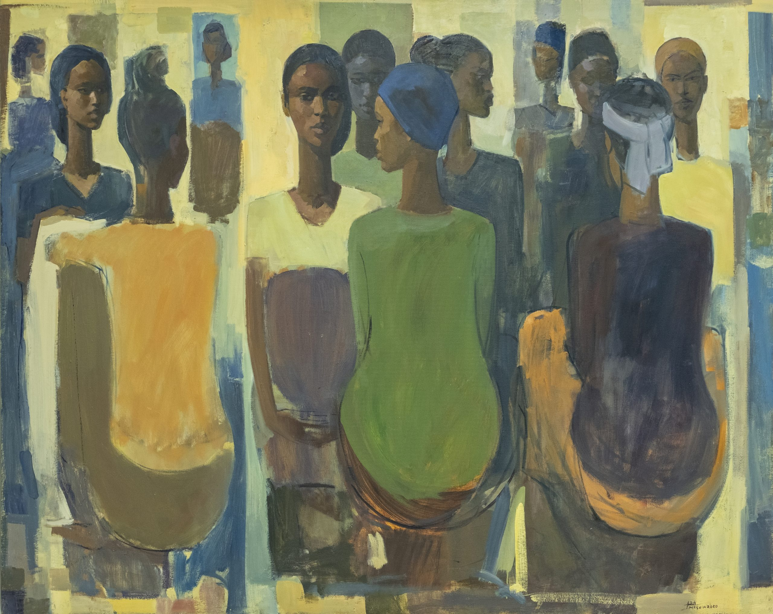 Tadesse Mesfin, Pillars of Life: Market Day IV, 2020, oil on canvas. Photo: Eyerusalem Jiregna. Courtesy Addis Fine Art