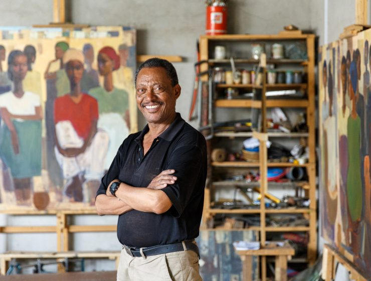 Tadesse Mesfin in his studio