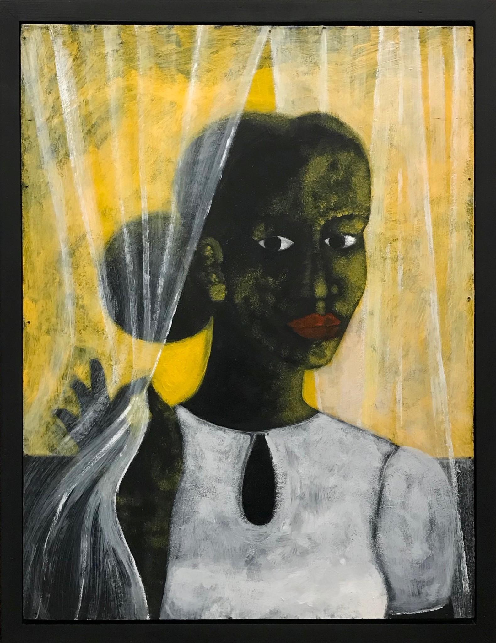 Abe Odedina, Dawn, 2019, acrylic on plywood, 77 x 58 cm. Courtesy of Nil Gallery.