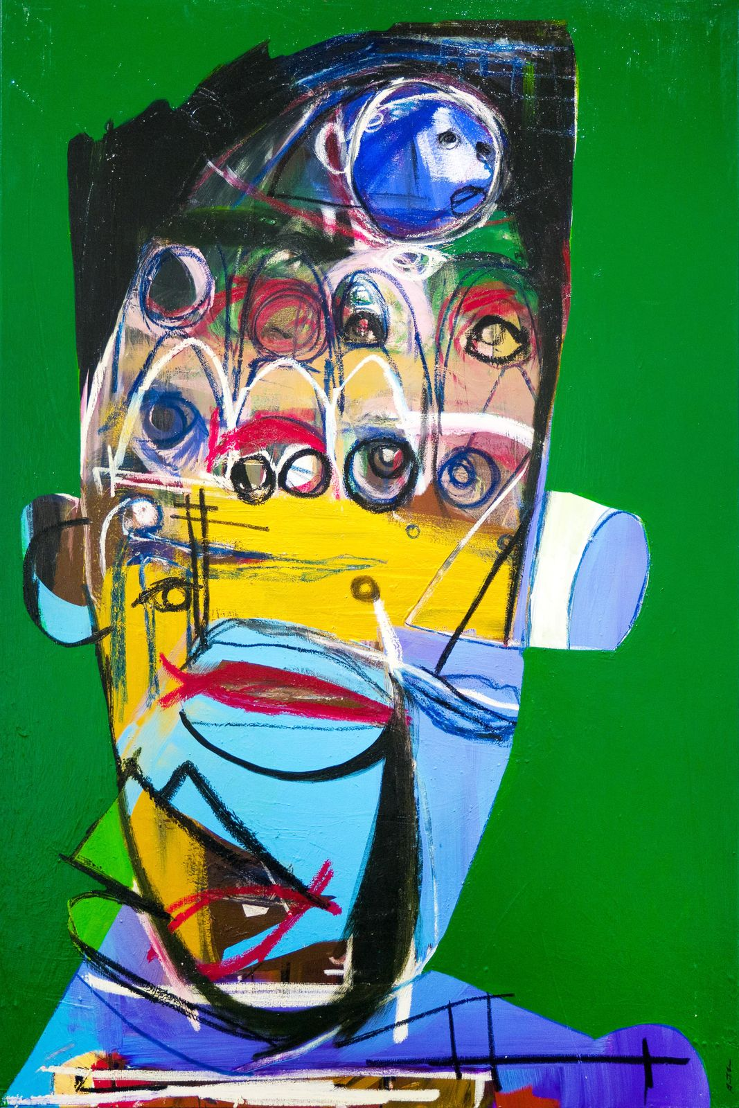 "Genesis Tramaine, ""Saint Jacob Study"", 2020, Acrylic, oil sticks, yeshua & spray paint on paper. Courtesy of Richard Beavers Gallery"