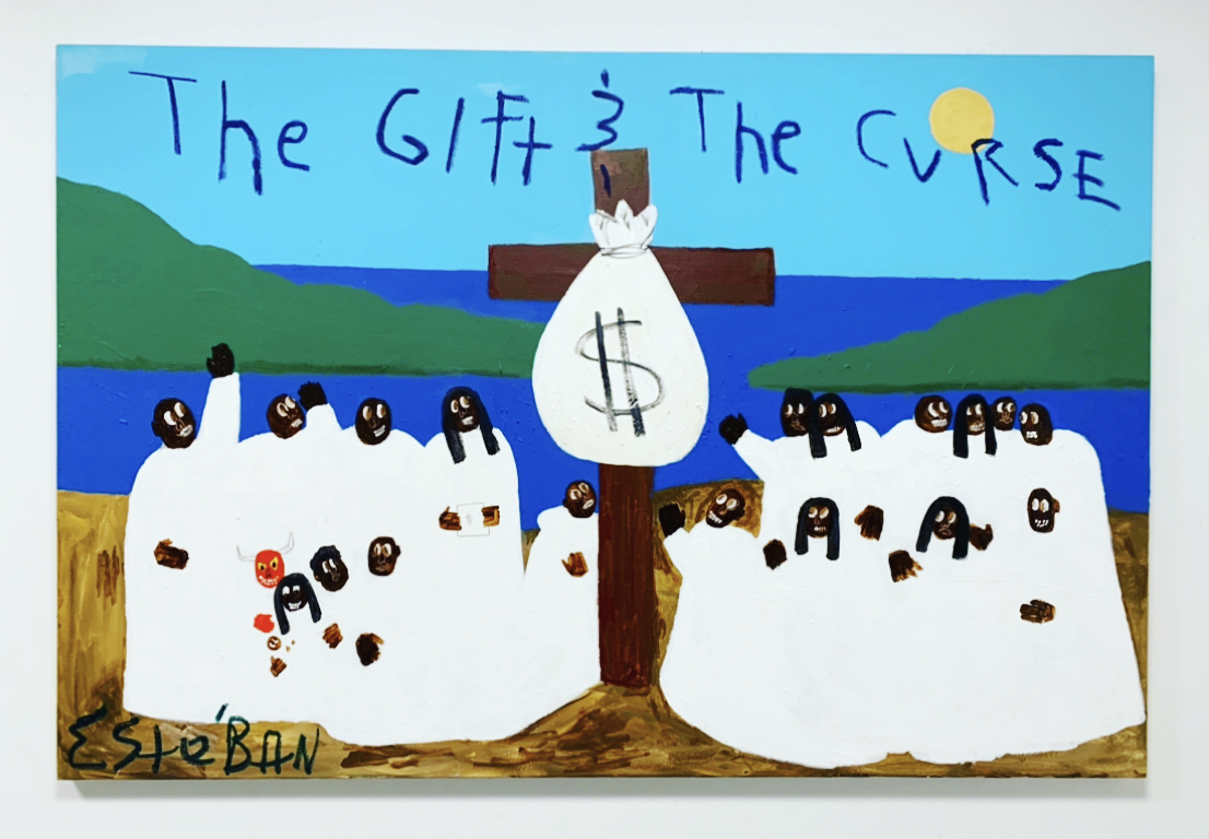 "Esteban Whiteside, ""The Gift & The Curse"", 2020, Mixed media. Courtesy of Richard Beavers Gallery"