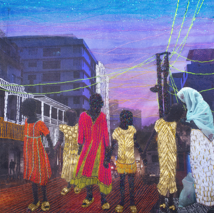 Joana Choumali, AT LEAST, WE HAVE EACH OTHER, 2020, textile work, 50x50 cm. Courtesy of Loft Art Gallery