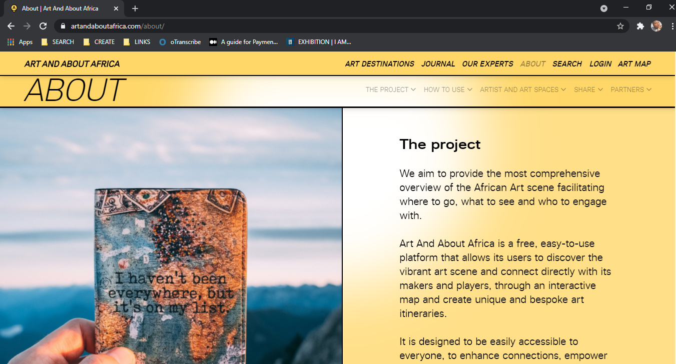 Screenshot of the Art and About Africa web page, via artandaboutafrica.com
