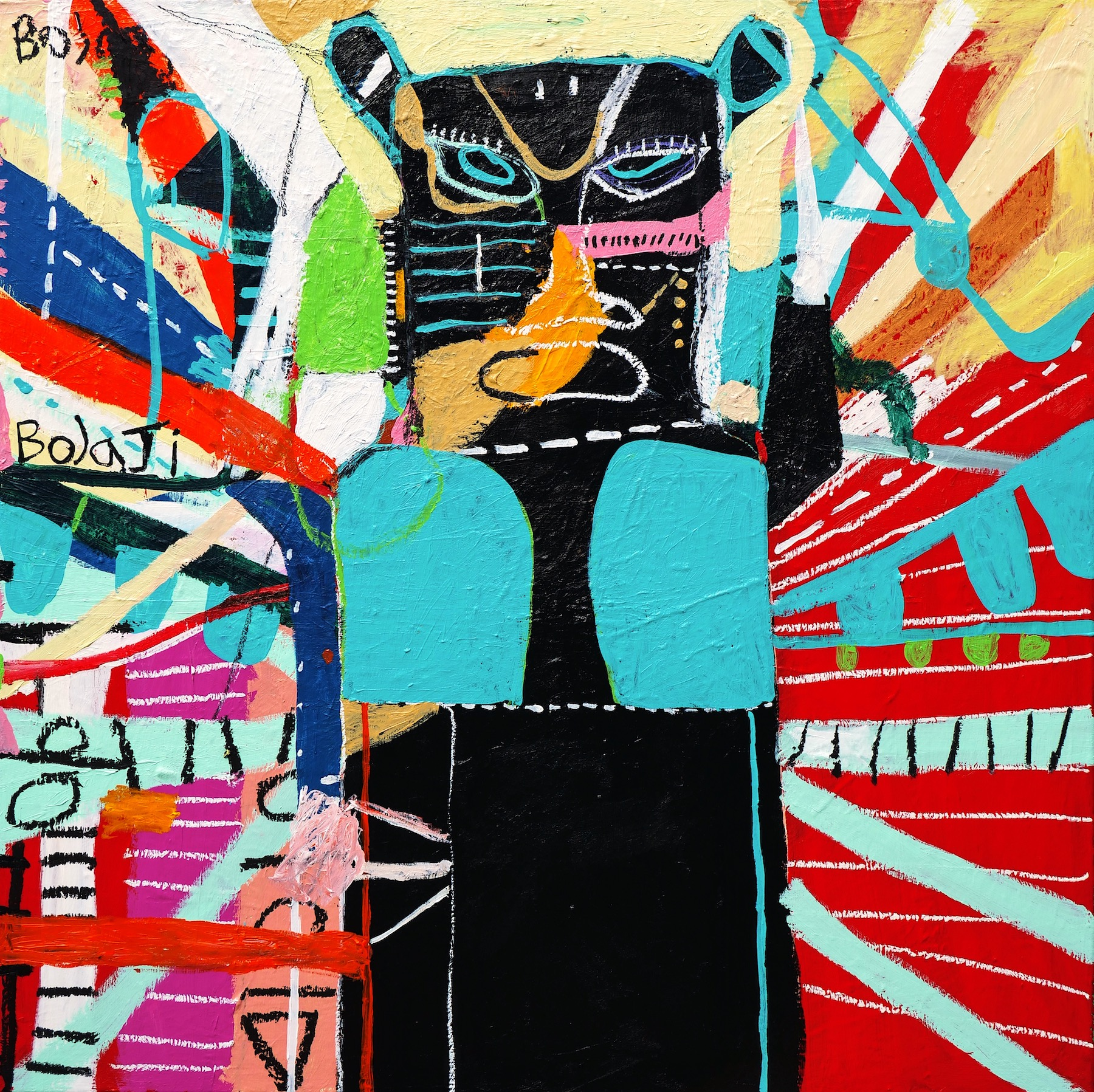 """Adébayo Bolaji, """"Duro"""" (2021), Acrylic, Oil Pastel and Crayon on Cotton. Courtesy of BEERS London"""