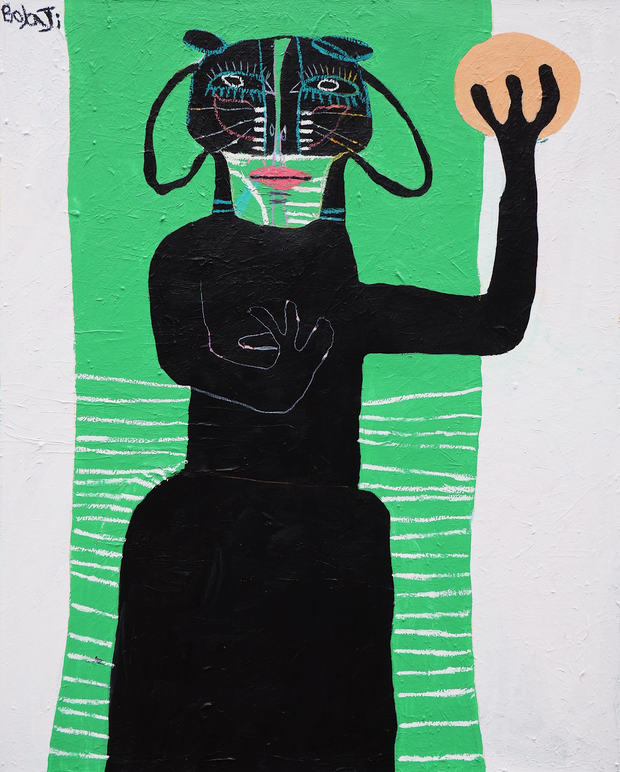 """Adébayo Bolaji, """"The Fruit"""" (2021), Acrylic, Oil Pastel and Crayon on Cotton. Courtesy of BEERS London"""