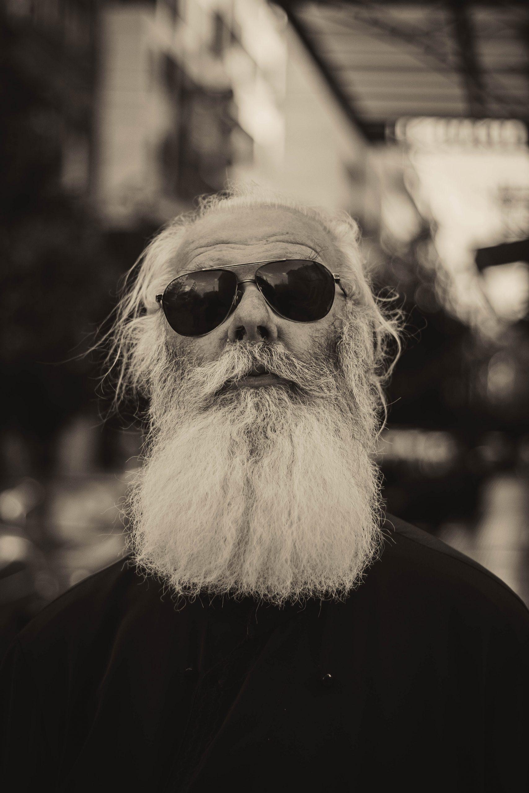 The Greek Elder, Photo: Bearded Man, Monochrome, Eyeglass-Chinedum Odunze