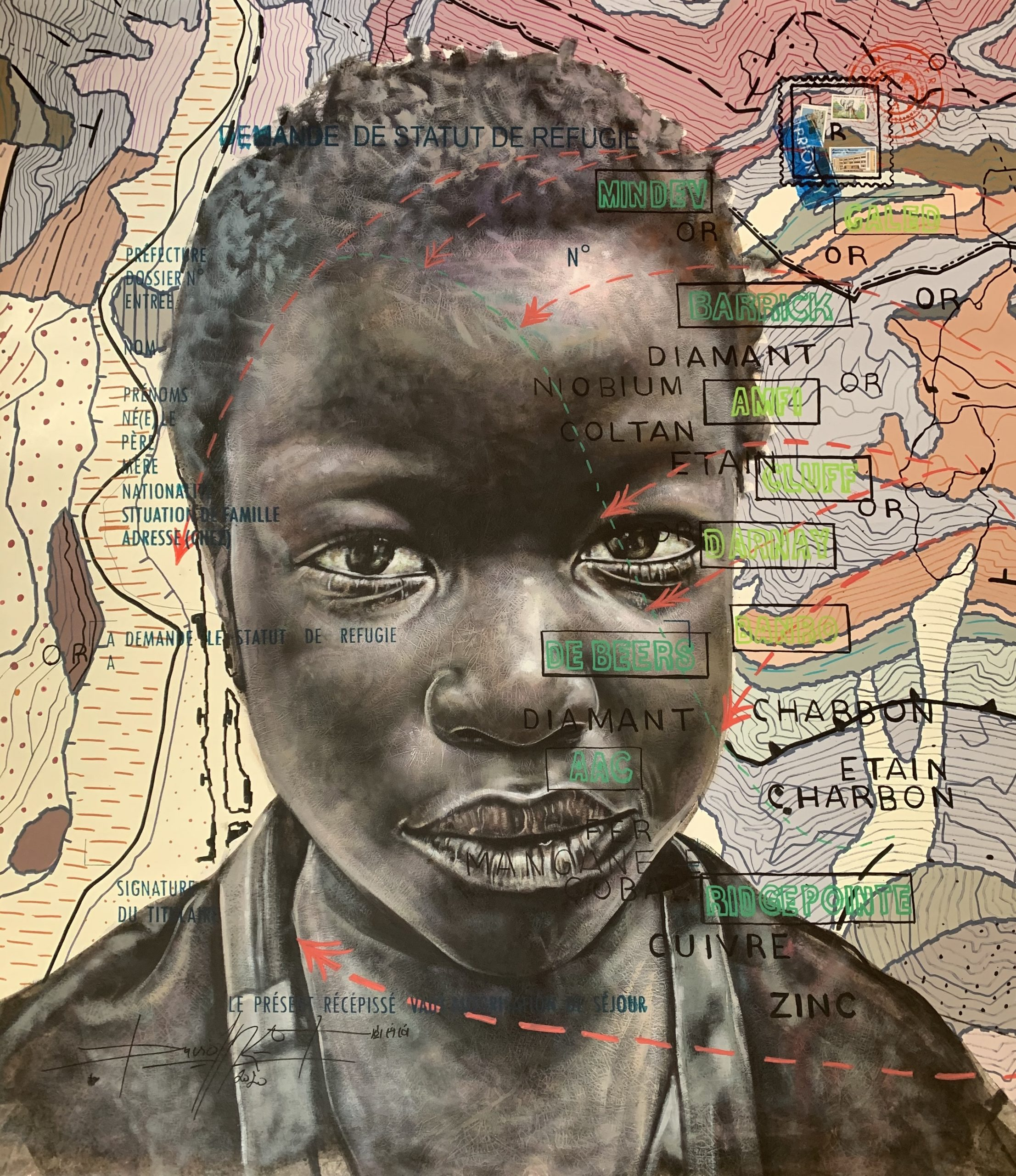 Jean David Nkot, 'BP. Child of Calabar' 2020, acrylic, Indian ink and posca on canvas. Courtesy of AFIKARIS Gallery