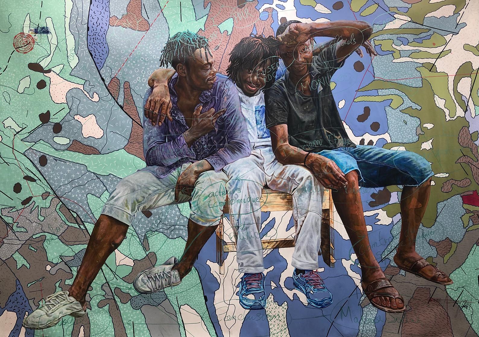 Jean David Nkot, 'P.O.Box The hope of the soul' 2021, acrylic, posca on canvas. Courtesy of AFIKARIS Gallery