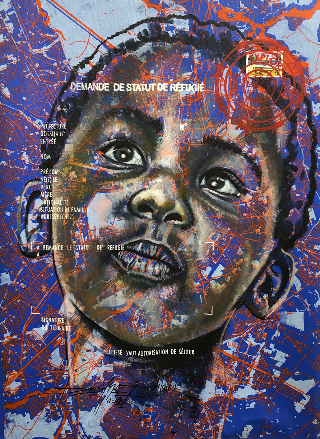 Jean David Nkot, 'www.look of hopes@.com #8', 2021, acrylic, posca and silkscreen printing on canvas. Courtesy of AFIKARIS Gallery