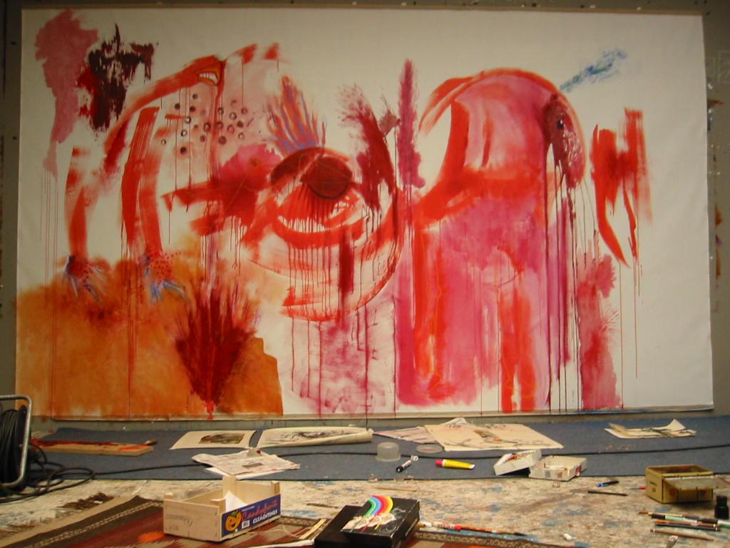 Obi Okigbo's Predominantly Red (work-in-progress) at her studio in Brussels, 2003. Courtesy of the artist