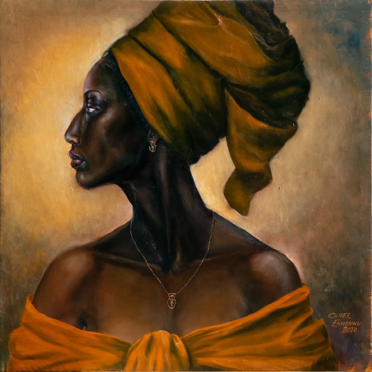 Ebony(from the Black and Proud series), 2020, oil on canvas, 62.5 x 62.5cm