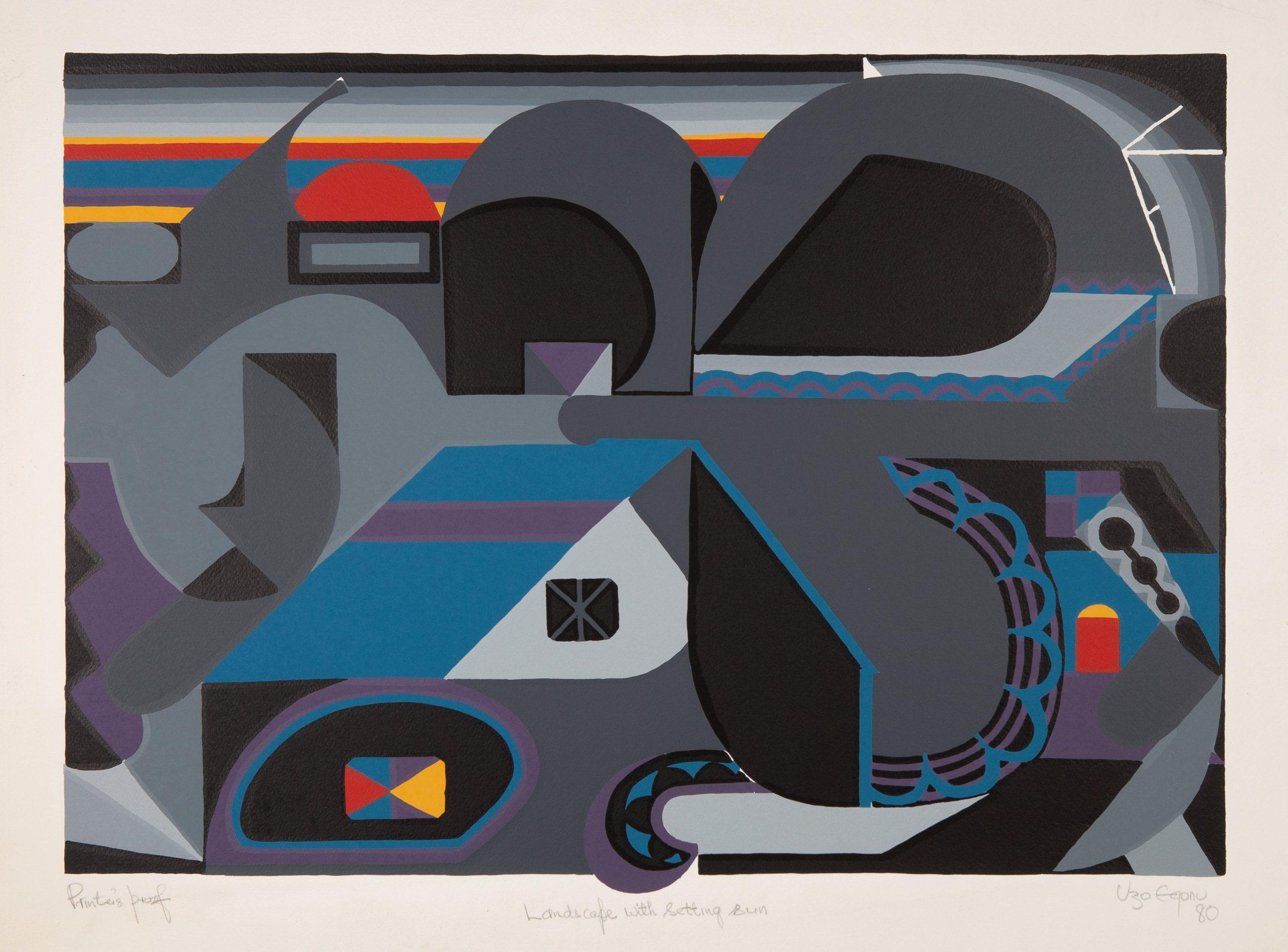 Uzo Egonu - Landscape with setting sun - 1980 - Screenprint on woven paper - 19.8 x 28 in. Printers Proof. Courtesy of Kó